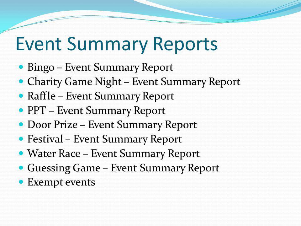 Event Summary Reports Bingo – Event Summary Report Charity Game Night – Event Summary Report Raffle – Event Summary Report PPT – Event Summary Report