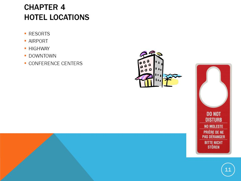 CHAPTER 4 HOTEL LOCATIONS RESORTS AIRPORT HIGHWAY DOWNTOWN CONFERENCE CENTERS 11