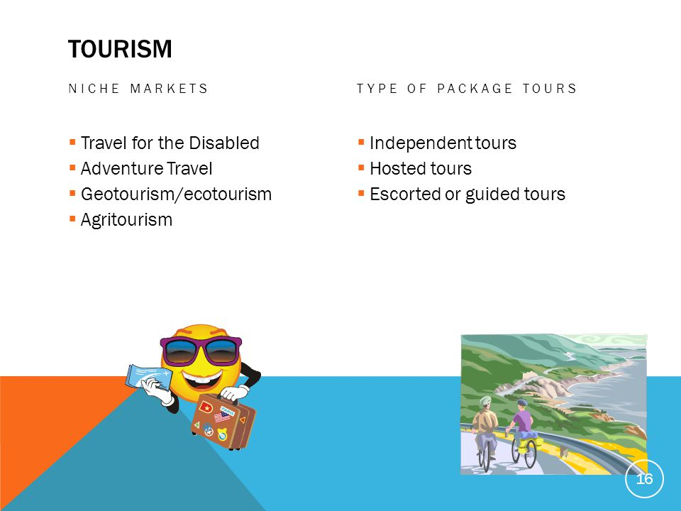 TOURISM NICHE MARKETS Travel for the Disabled Adventure Travel Geotourism/ecotourism Agritourism TYPE OF PACKAGE TOURS Independent tours Hosted tours Escorted or guided tours 16