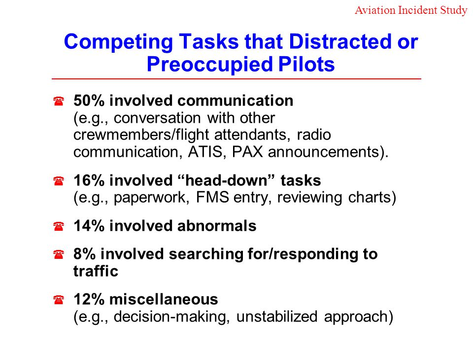 Competing Tasks that Distracted or Preoccupied Pilots 50% involved communication (e.g., conversation with other crewmembers/flight attendants, radio c
