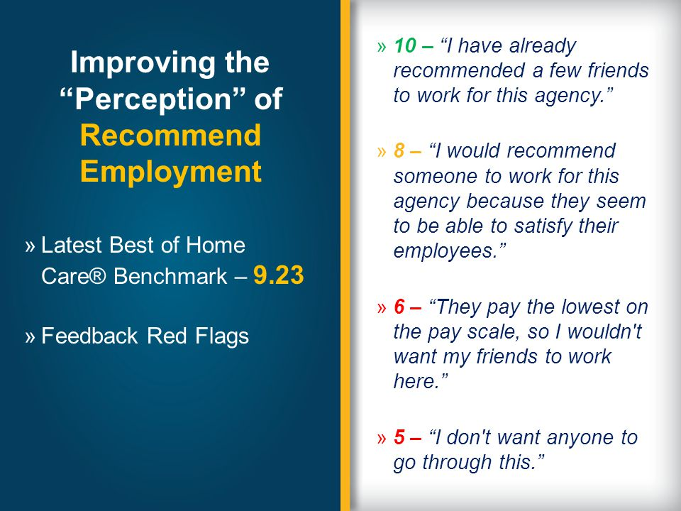 Improving the Perception of Recommend Employment »10 – I have already recommended a few friends to work for this agency.