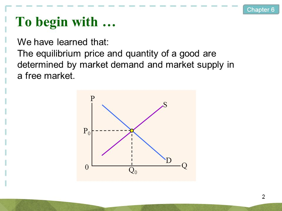 Chapter 6 To begin with … 2 We have learned that: The equilibrium price and quantity of a good are determined by market demand and market supply in a