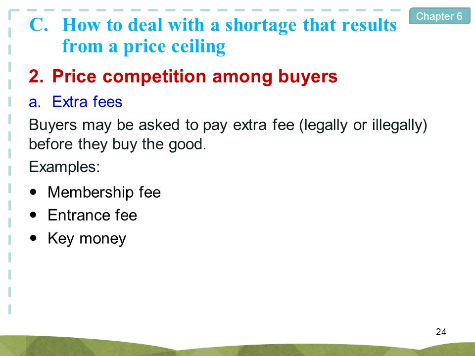Chapter 6 C.How to deal with a shortage that results from a price ceiling 24 2.Price competition among buyers a.Extra fees Buyers may be asked to pay