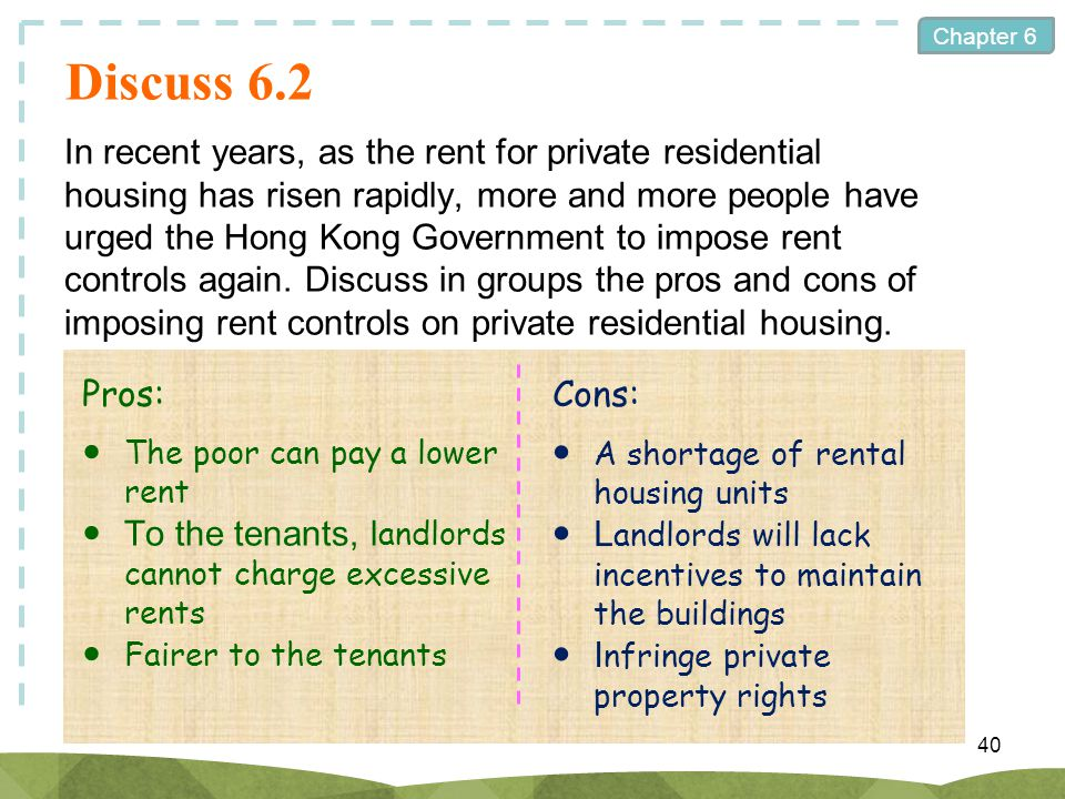 Chapter 6 Discuss 6.2 In recent years, as the rent for private residential housing has risen rapidly, more and more people have urged the Hong Kong Go