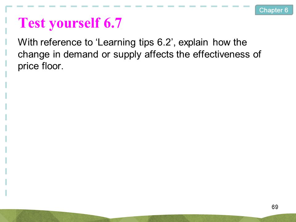 Chapter 6 Test yourself 6.7 With reference to Learning tips 6.2, explain how the change in demand or supply affects the effectiveness of price floor.