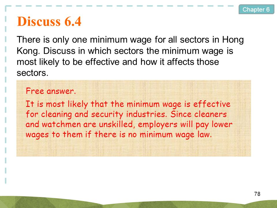 Chapter 6 Discuss 6.4 There is only one minimum wage for all sectors in Hong Kong. Discuss in which sectors the minimum wage is most likely to be effe