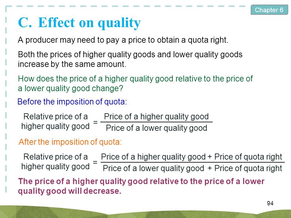 Chapter 6 C.Effect on quality 94 A producer may need to pay a price to obtain a quota right. Both the prices of higher quality goods and lower quality