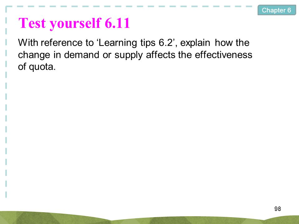 Chapter 6 Test yourself 6.11 With reference to Learning tips 6.2, explain how the change in demand or supply affects the effectiveness of quota. 98