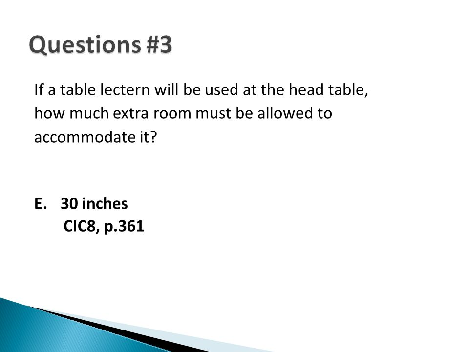 If a table lectern will be used at the head table, how much extra room must be allowed to accommodate it? E.30 inches CIC8, p.361