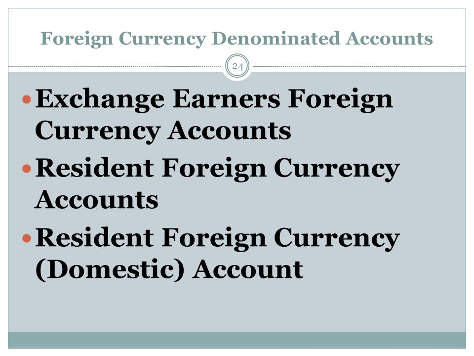 Foreign Currency Denominated Accounts Exchange Earners Foreign Currency Accounts Resident Foreign Currency Accounts Resident Foreign Currency (Domestic) Account 24