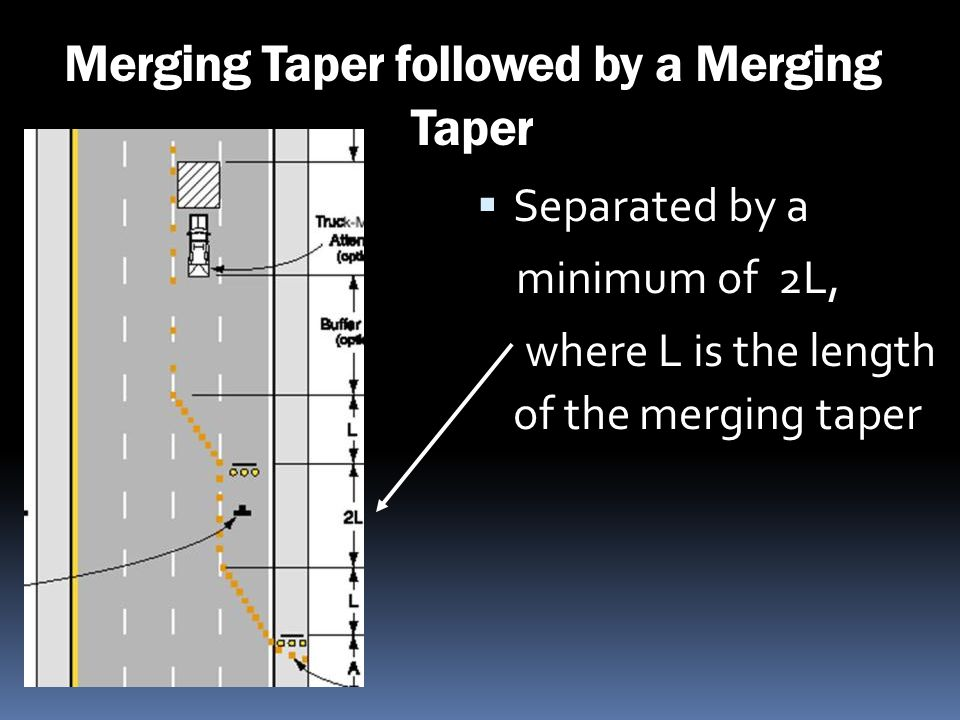 Merging Taper followed by a Merging Taper Separated by a minimum of 2L, where L is the length of the merging taper