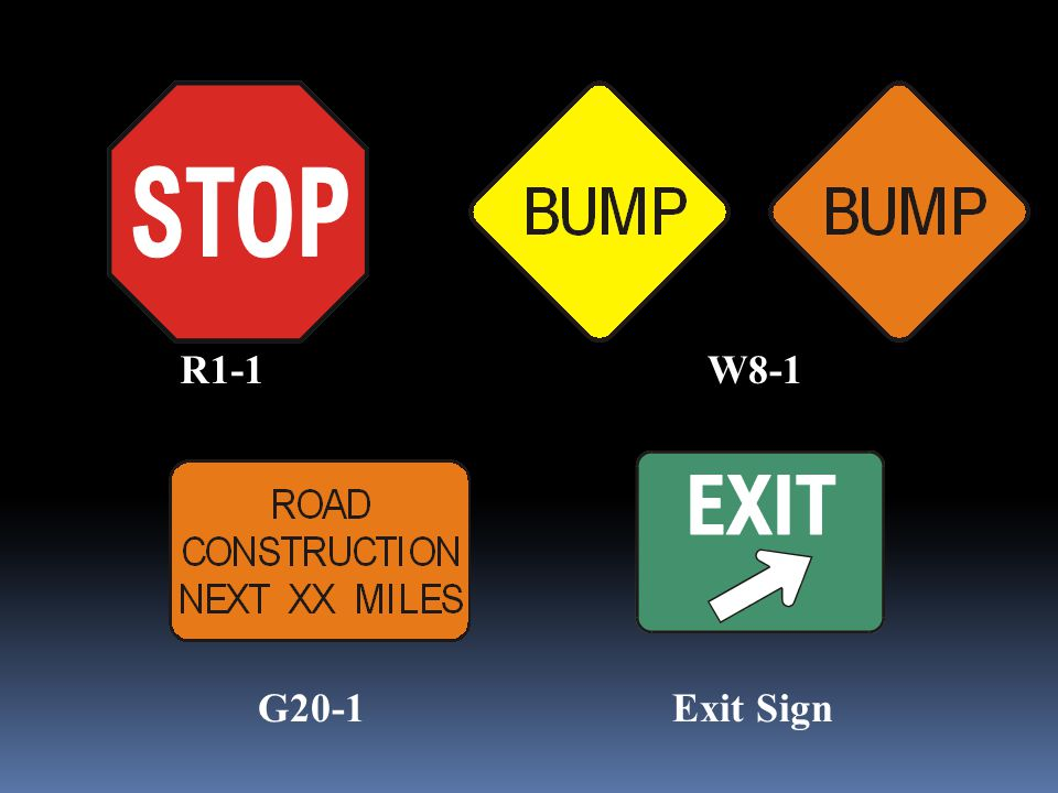 W8-1R1-1 G20-1Exit Sign