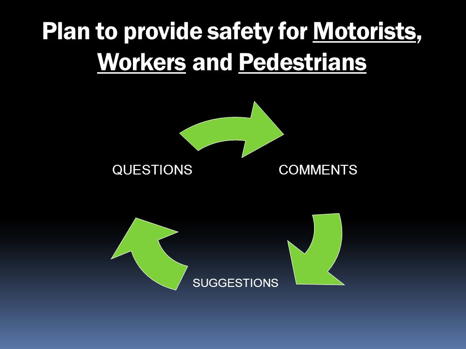 Plan to provide safety for Motorists, Workers and Pedestrians COMMENTS SUGGESTIONS QUESTIONS
