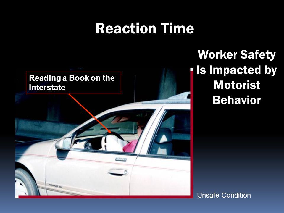 Worker Safety Is Impacted by Motorist Behavior Reading a Book on the Interstate Reaction Time Unsafe Condition