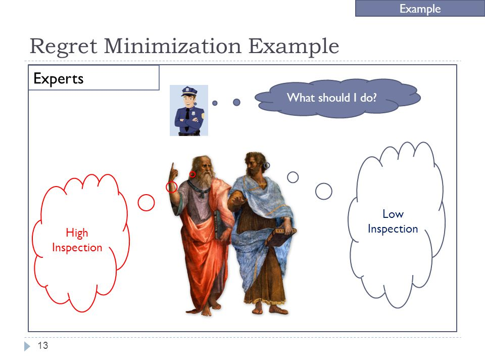 Regret Minimization Example Example Experts 13 Low Inspection High Inspection What should I do