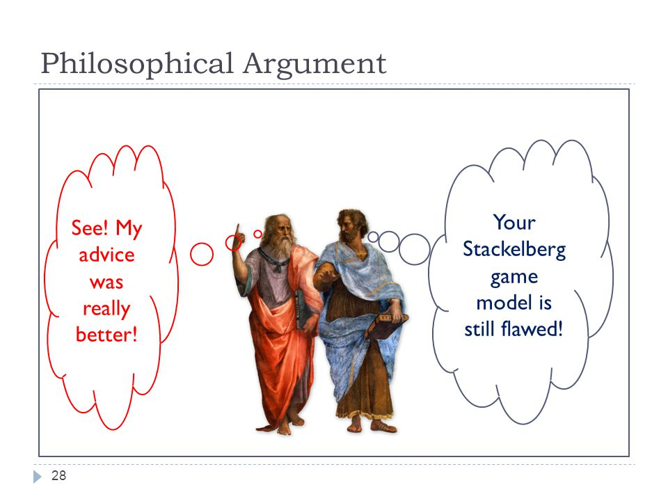 Philosophical Argument 28 Your Stackelberg game model is still flawed.