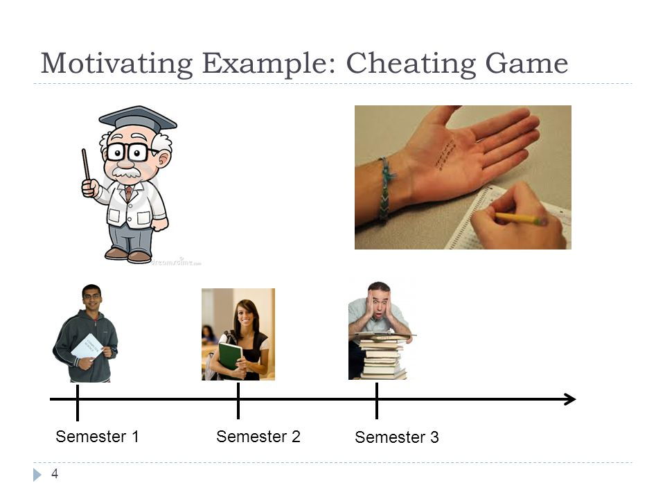 Motivating Example: Cheating Game 4 Semester 1 Semester 2 Semester 3
