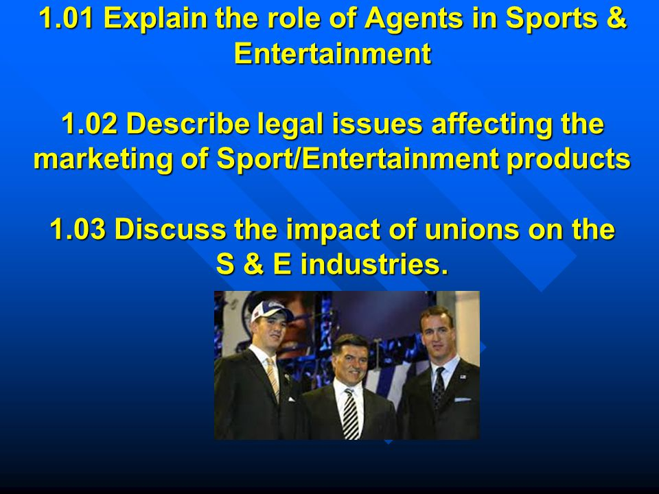 1.01 Explain the role of Agents in Sports & Entertainment 1.02 Describe legal issues affecting the marketing of Sport/Entertainment products 1.03 Discuss the impact of unions on the S & E industries.