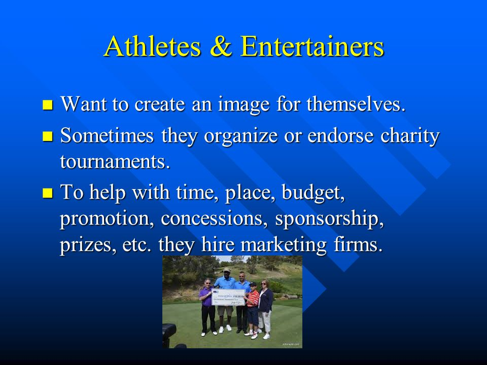 Athletes & Entertainers Want to create an image for themselves.