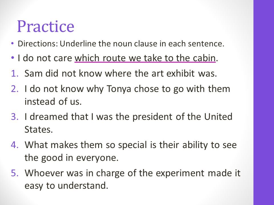 Practice Directions: Underline the noun clause in each sentence.