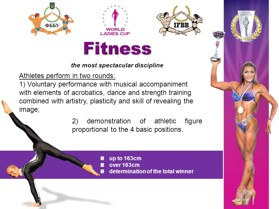 the most spectacular discipline Athletes perform in two rounds: 1) Voluntary performance with musical accompaniment with elements of acrobatics, dance