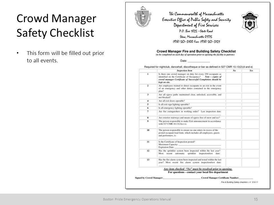 Crowd Manager Safety Checklist This form will be filled out prior to all events.