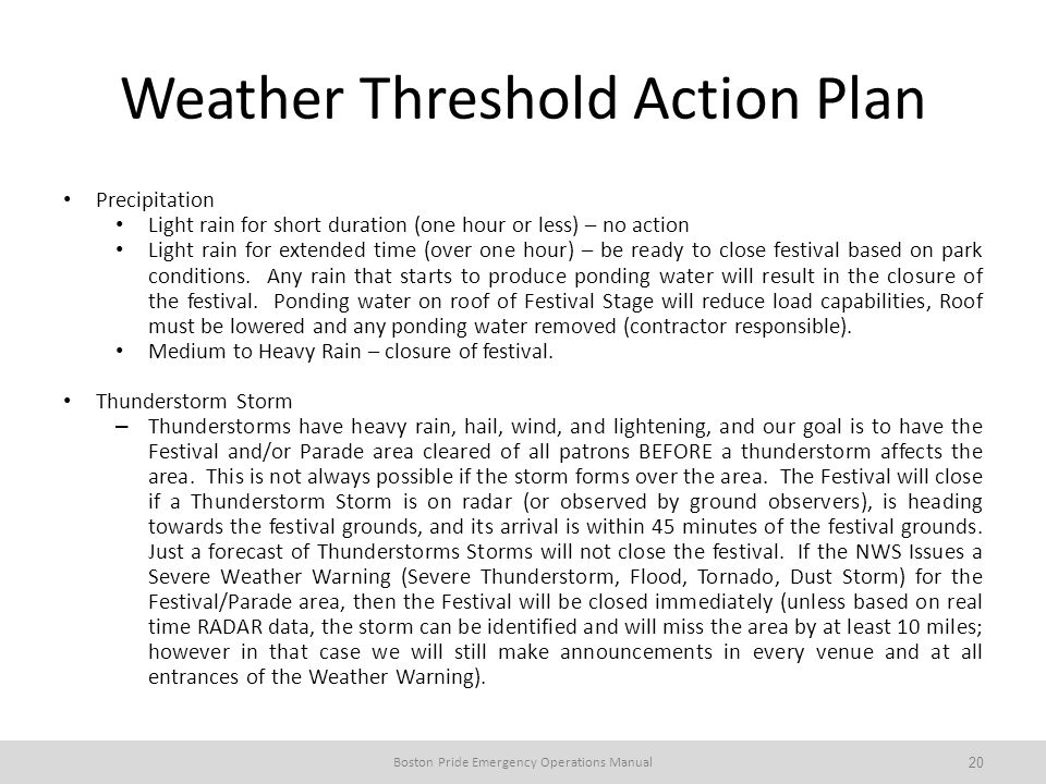 Weather Threshold Action Plan Precipitation Light rain for short duration (one hour or less) – no action Light rain for extended time (over one hour) – be ready to close festival based on park conditions.