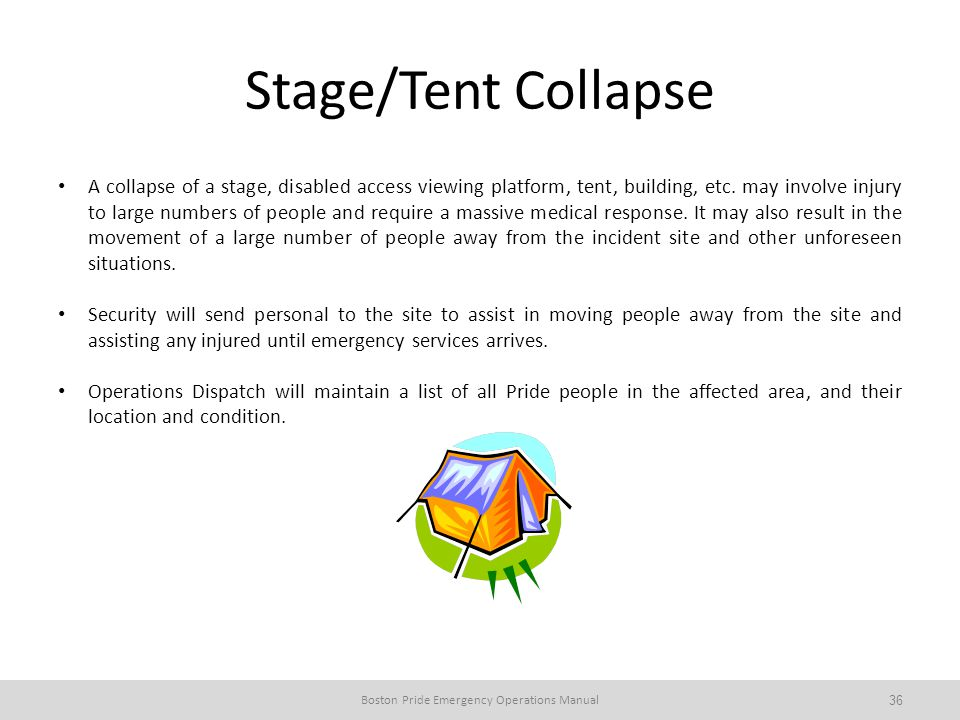 Stage/Tent Collapse A collapse of a stage, disabled access viewing platform, tent, building, etc.