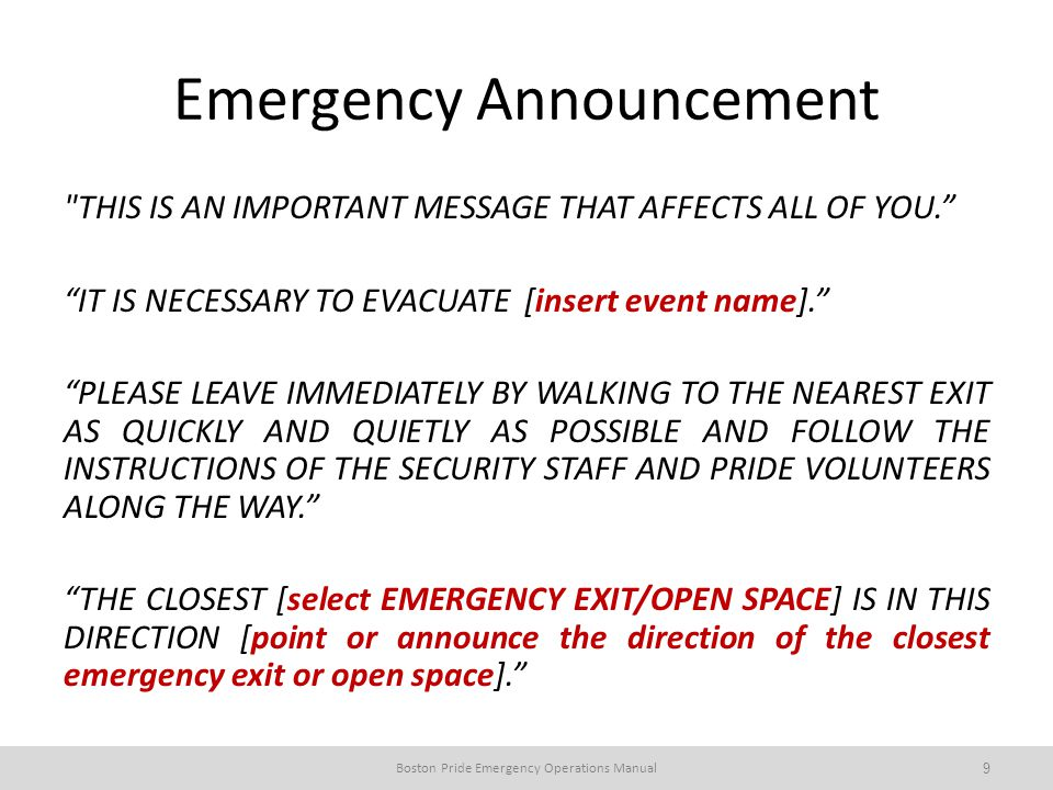 Emergency Announcement THIS IS AN IMPORTANT MESSAGE THAT AFFECTS ALL OF YOU.