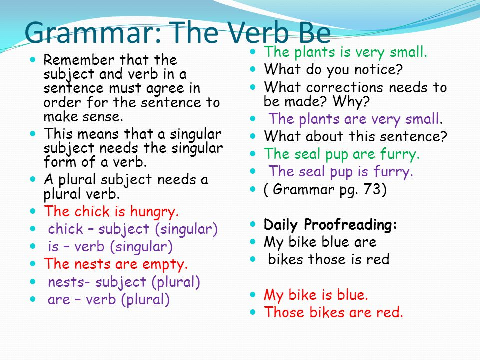 Grammar: The Verb Be Remember that the subject and verb in a sentence must agree in order for the sentence to make sense. This means that a singular s