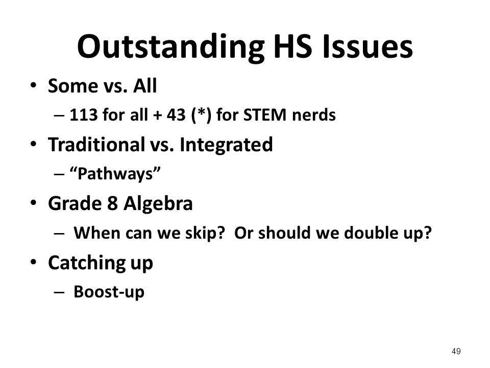 Outstanding HS Issues Some vs. All – 113 for all + 43 (*) for STEM nerds Traditional vs.