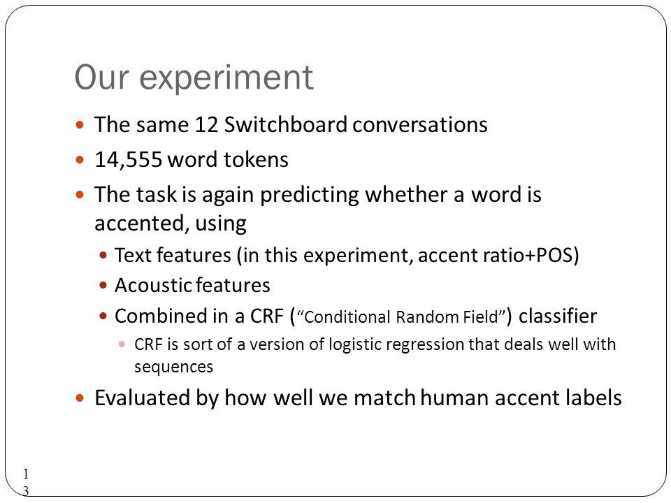 Study 2: Pitch accent detection Sridhar, Nenkova, Narayanan, Jurafsky.