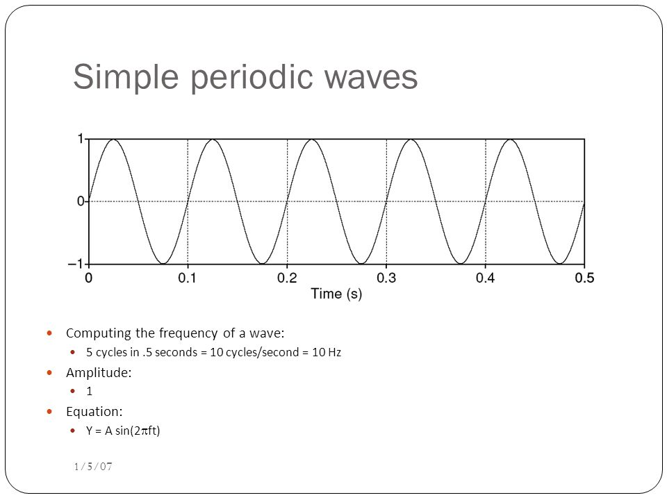 Simple Period Waves (sine waves) 1/5/07 Characterized by: period: T amplitude A phase Fundamental frequency in cycles per second, or Hz F 0 =1/T 1 cycle