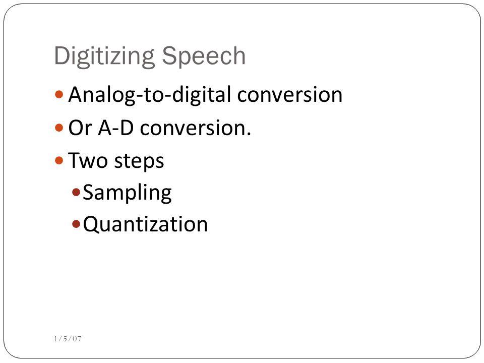 Digitizing Speech 1/5/07