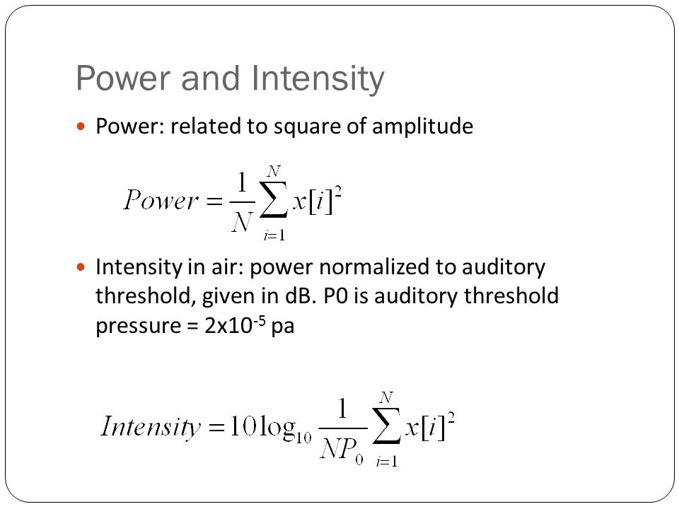 Amplitude We need a way to talk about the amplitude of a region of a signal over tune We cant just average all the values.