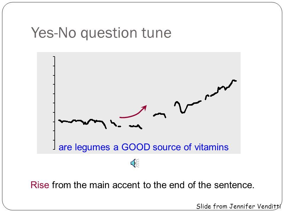 Yes-No question tune are LEGUMES a good source of vitamins Rise from the main accent to the end of the sentence.