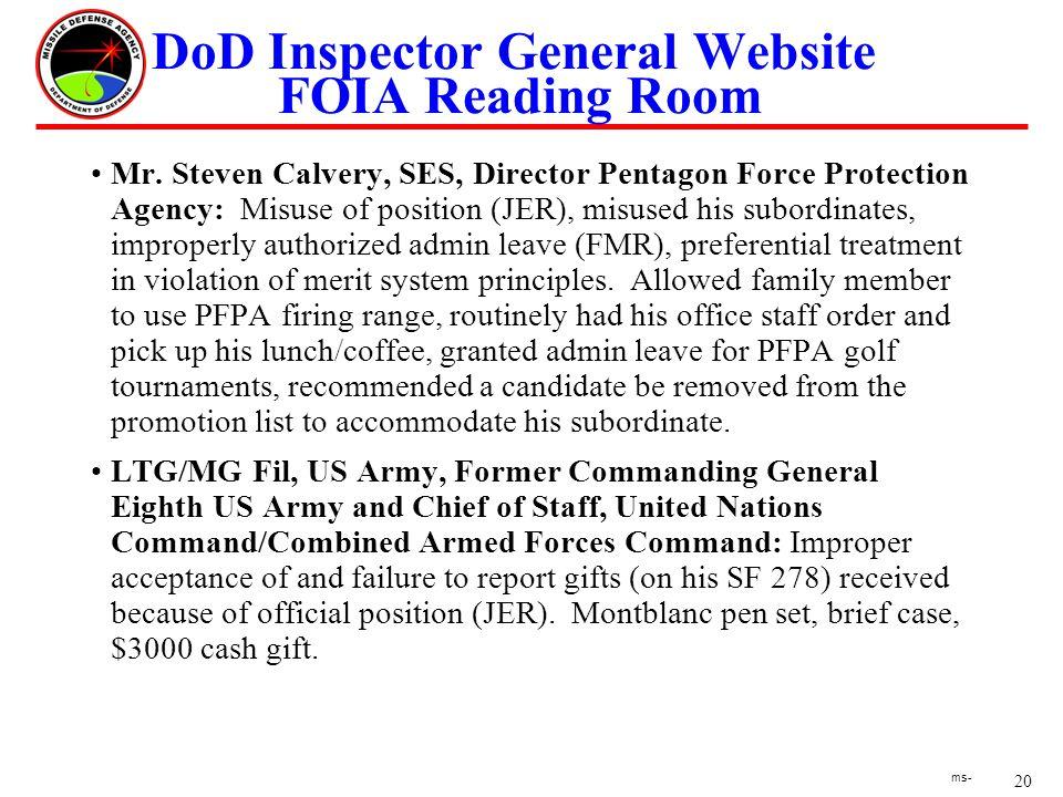 20 ms- DoD Inspector General Website FOIA Reading Room Mr.