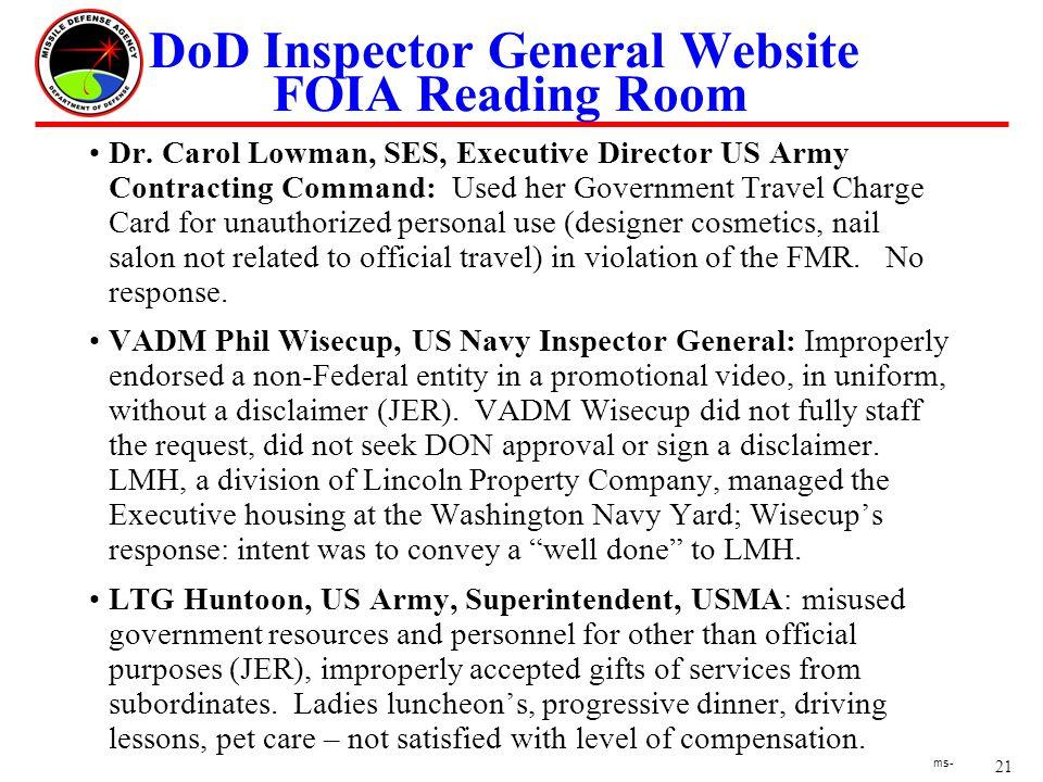 21 ms- DoD Inspector General Website FOIA Reading Room Dr.