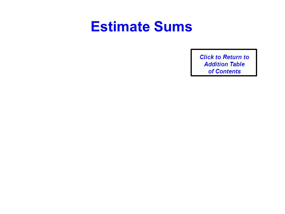 Estimate Sums Click to Return to Addition Table of Contents
