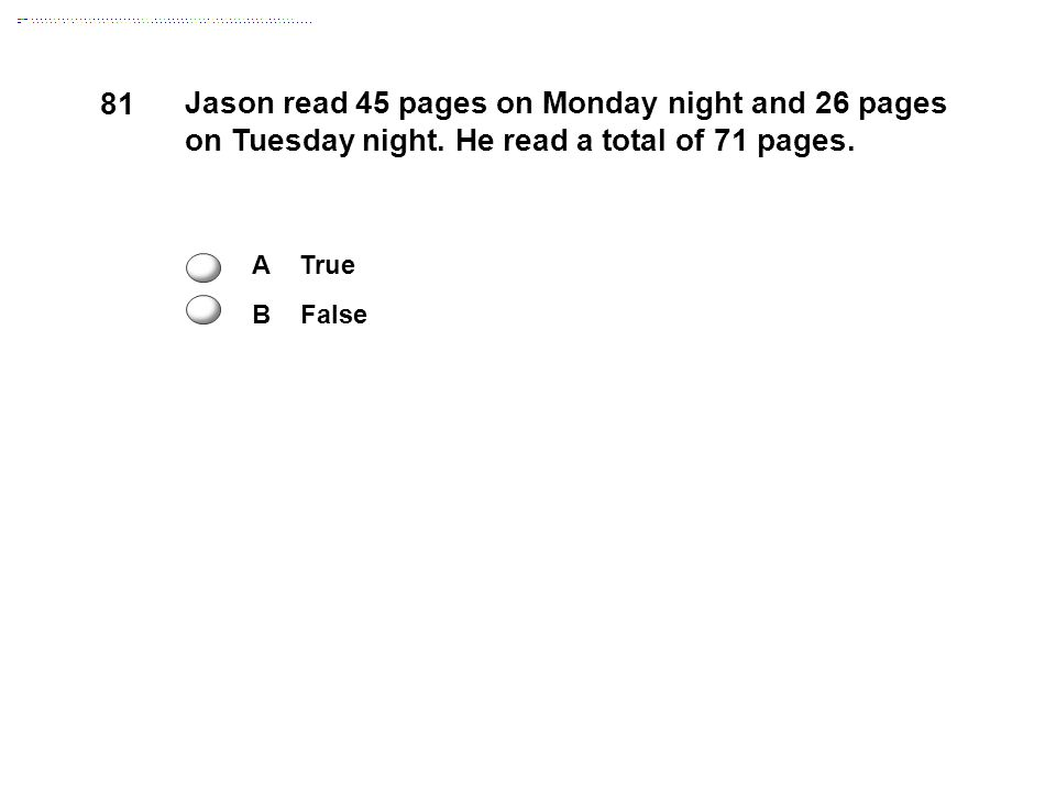 81 Jason read 45 pages on Monday night and 26 pages on Tuesday night.