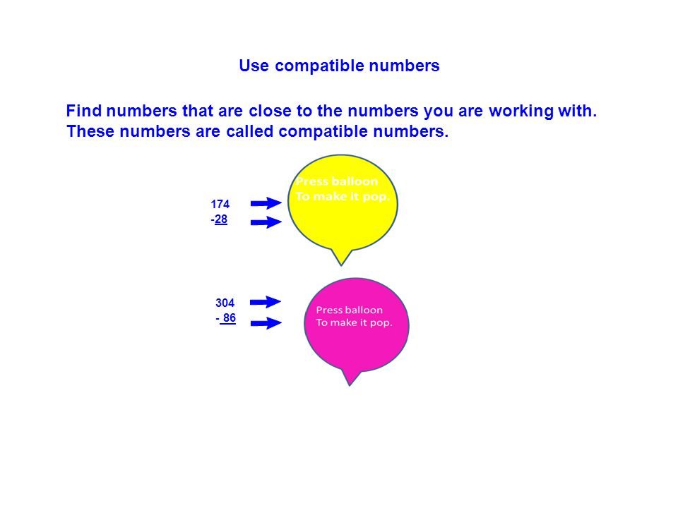 Use compatible numbers 174 175 -28 - 25 Find numbers that are close to the numbers you are working with.