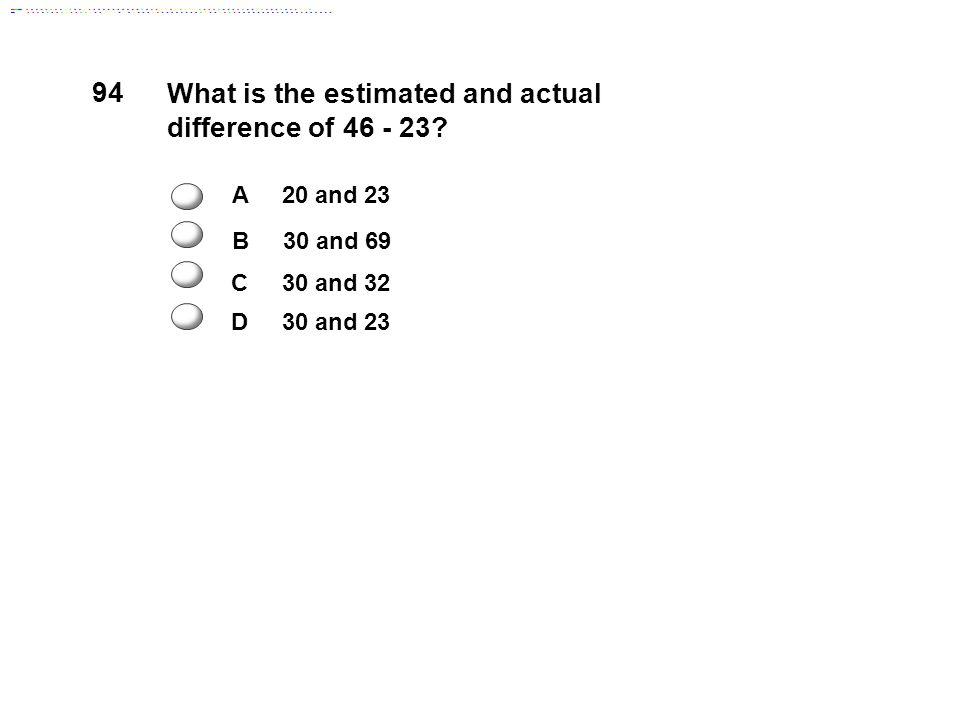 What is the estimated and actual difference of 46 - 23.