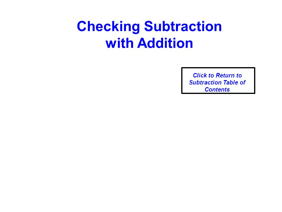 Checking Subtraction with Addition Click to Return to Subtraction Table of Contents