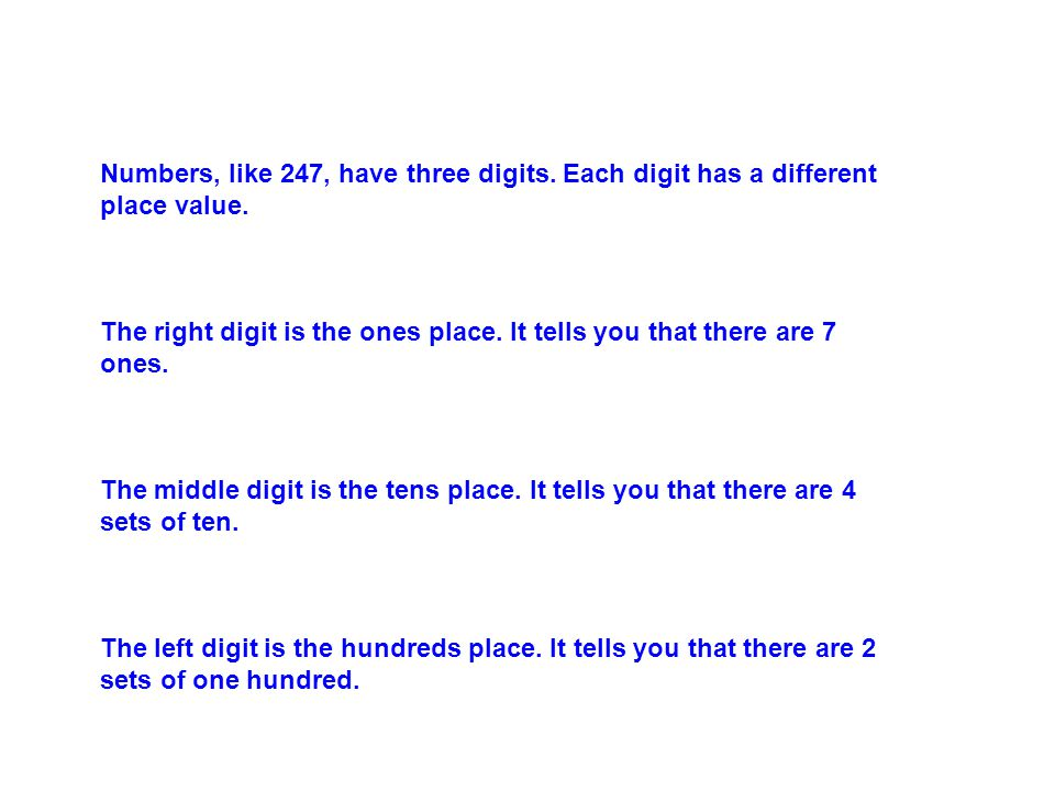 There are 3 properties of Addition Communtative Property- You can add numbers in any order and get the same sum (answer).