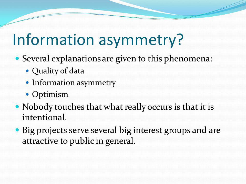 Information asymmetry.