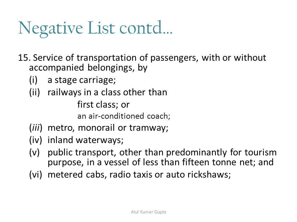 Negative List contd… 16.