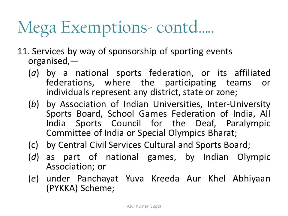 Mega Exemptions- contd…..12.