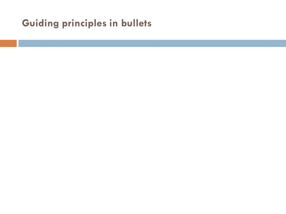 Guiding principles in bullets