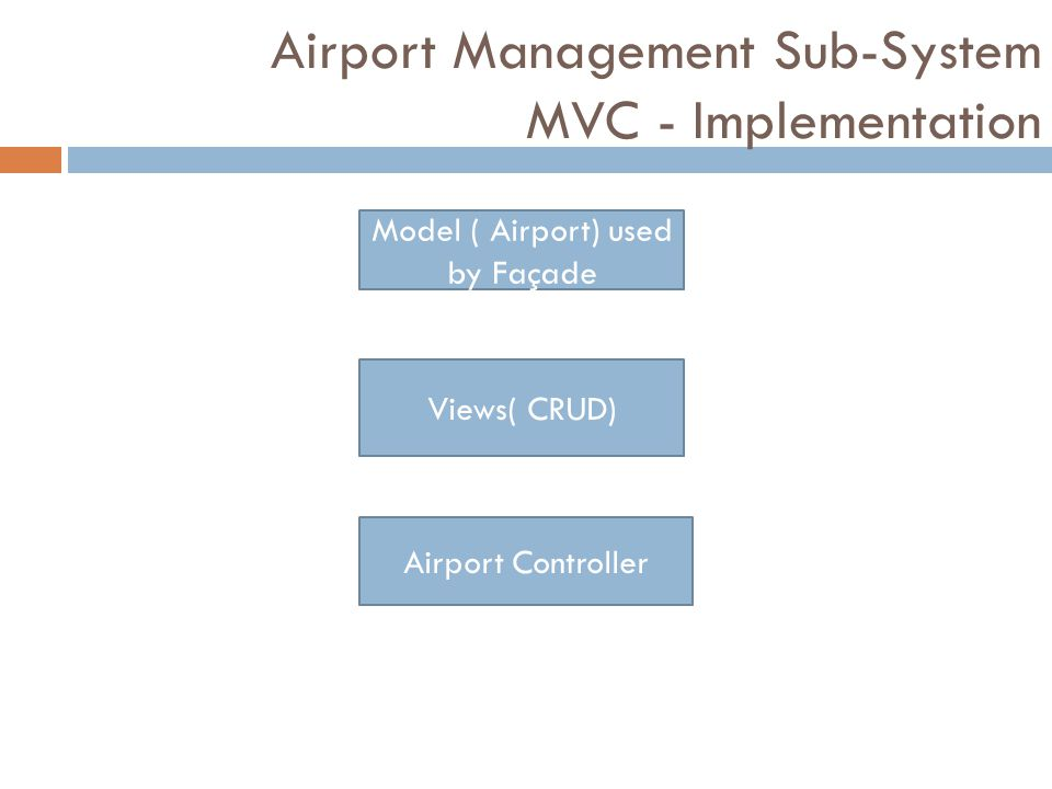 Airport Management Sub-System MVC - Implementation Model ( Airport) used by Façade Views( CRUD) Airport Controller