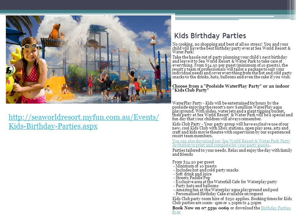 Kids Birthday Parties No cooking, no shopping and best of all no stress.